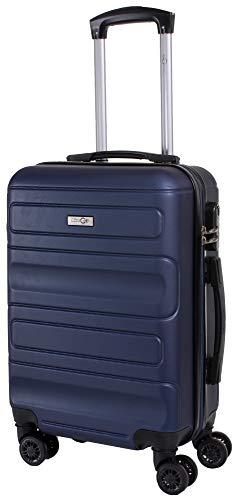 CABIN GO MAX 5515 Valigia Trolley ABS, bagaglio a mano 55x37x20, Valigia rigida, guscio duro e antigraffio con 8 ruote, Ideale a bordo di Ryanair, Alitalia, Air Italy, easyJet, Lufthansa BLU