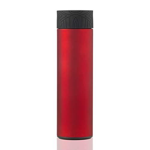 BOHORIA® Bouteille isotherme sous vide de qualité supérieure - 0,5 l - En acier inoxydable 18/8 - Légère et compacte - Pour enfants, université, école, sport (rouge rubis rouge)