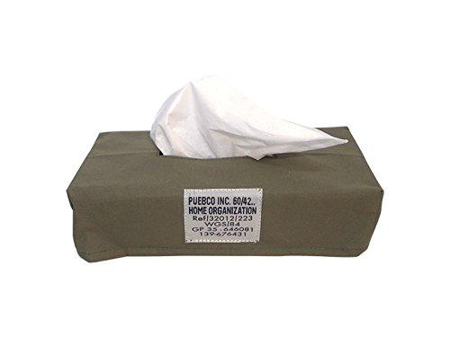PUEBCO プエブコ LAMINATED FABRIC TISSUE BOX COVER ラミネーテッドティッシュボックスカバー (オリーブ) 101293