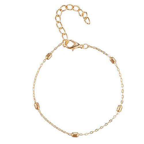 MOONRING Pulsera ajustable tono dorado apilable cadena de diamantes de imitación pulsera para mujeres y hombres regalos de cumpleaños
