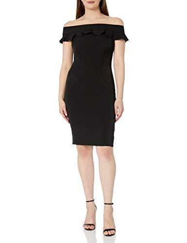 Eliza J Women's Off The Shoulder Ruffle Sheath Dress, Black, 16