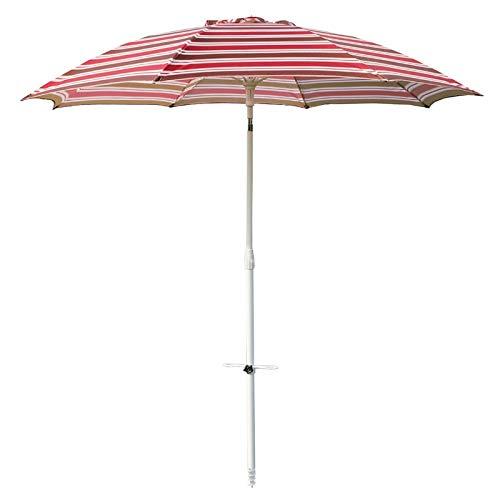 HWF Sombrilla Sombrilla de Playa con Ancla de Arena, Sombrilla de Patio de 7 pies Protección UV 50+, Sombrilla de Playa portátil para Playa, Patio, jardín al Aire Libre, Raya roja