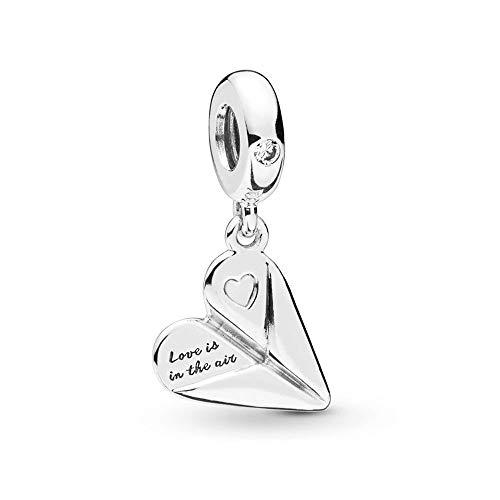 Pandora 925 Charm Silver Bead Corazón Papel Avión Colgante Moda Mujer Brazalete Regalo Diy Joyería
