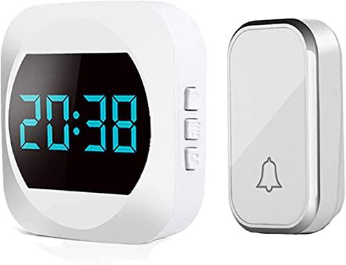 ZHJ Smart Wireless Doorbell Plug-in Portero Impermeable Kit Pager 1 Receptor y 1 transmisor Hermoso y práctico fácil de Instalar Timbres para Puerta (Color : White)