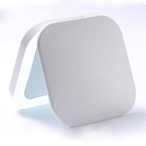 Miroir de Maquillage Cosmétique Miroir LED Portable Portable Miroir De Maquillage Rechargeable 3X Loupe pour Soins de La Peau Cosmétique Rasage Et Voyager (Couleur : Blanc)