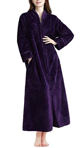 Soojun Women's Waffle Fleece Soft Zip Up Front Bathrobe, Dark Purple, Large/X-Large