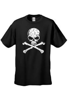 Men s/Unisex Biker Skull Head with Cross Bones Black Short Sleeve T-Shirt  Large