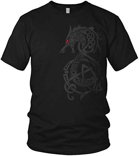 North - Fenriswolf 2.0 Runen Wikinger Fenrir Valhalla Rising Walhalla Vikings Wodan - Herren T-Shirt und Männer Tshirt, Größe:XL, Farbe:Schwarz/Rot