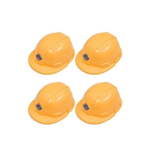 NUOBESTY 4 Stück Kinder BAU Hut Bauarbeiter Kostüm Kunststoff Gelb Kinder Party Hut Kinder Rollenspielzubehör (Gelb)