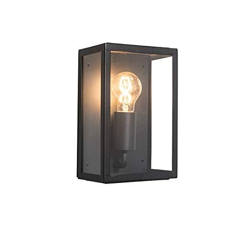 QAZQA - Landhaus   Vintage Industrie   Industrial Außen Wandleuchte schwarz mit Glas IP44 - Rotterdam 2   Außenbeleuchtung - Edelstahl Rechteckig - LED geeignet E27