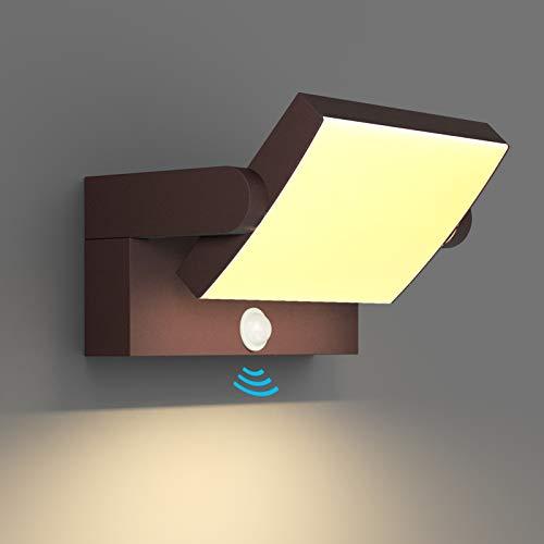 Klighten 24W LED Apliques Exterior con Sensor de Movimiento, IP65 Apliques Pared Exterior Interior Ajustable, Lámpara Moderno Pared Aluminio para Terraza Jardines, Blanco Cálido 2700K-3000K, Bronce