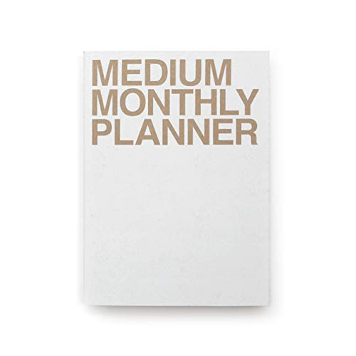 JSTORY Medium Monthly Planner Lays Flat Undated Year Round Flexible Cover Goal/Time Organizer Thick Paper Eco Friendly Customizable Stitch Bound A5 16 Months 150 GSM 18 Sheets White