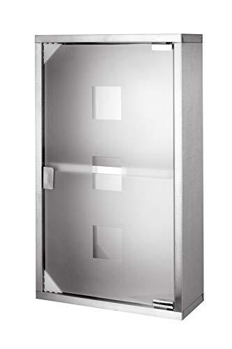 iHouse Medizinschrank aus Edelstahl, HxBxT: 60 x 30 x 12 cm mit 2 Fächern und Glas-Tür, Medikamenten-Lagerung-Silber