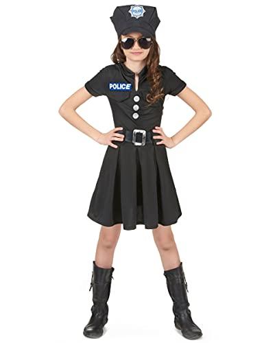DEGUISE TOI Déguisement policière Robe Noire Fille - M 7-9 Ans (120-130 cm)