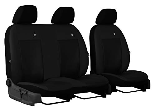 EJP Passgenaue Sitzbezüge für Sprinter III W907 / W910 ab 2018 Individuell gefertigt Bezug Fahrersitz mit Oberschenkel Verstellung und 2er Beifahrersitzbank. Stoffart Kunstleder Road (Schwarz)