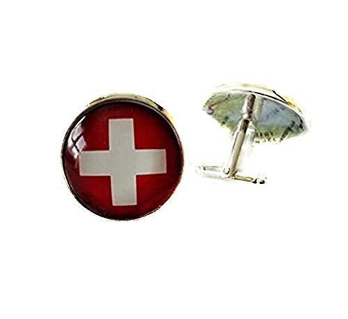 Manschettenknöpfe Schweizer Flagge Schweiz Manschettenknöpfe Trauzeugen Geschenk Land Patriotische Manschettenknöpfe