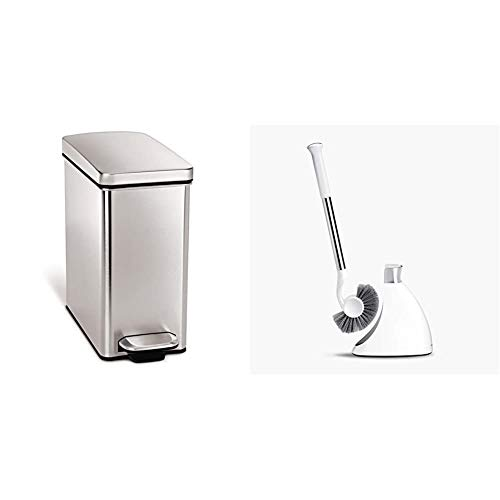 simplehuman 10 Liter / 2.6 Gallon Stainless Steel Bathroom Slim Profile Trash Can, Brushed Stainless Steel & Toilet Brush with Caddy, Stainless Steel, White