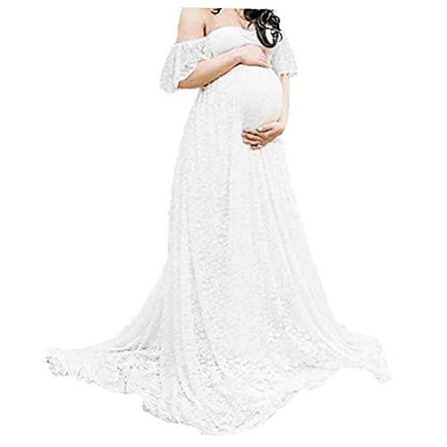 Tuimiyisou Vestido De Fotografía De Maternidad Lace Fancy Pregnancy Vestido con Hombro Floral para Embarazada Blanca S Long Maxi Off Hombro Foto Shoot Shoot Maternity V Cuello Vestido De Encaje Bebé