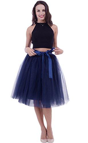 SCFL Falda de tutú de Las Mujeres Midi Tulle Faldas 7 Capas de Falda de Falda de Underskirt con el cinturón elástico para el Banquete de Boda