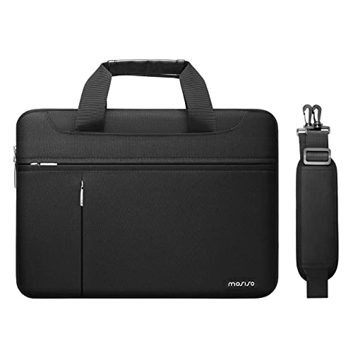 MOSISO 360 Funda Protectora Compatible con MacBook Pro/Air 13 pulgadas,13-13,3 pulgadas Portátil,Poliéster Bolsa con Bolsillos Frontales Horizontales&Verticales, Fijación Asa&Corbata Cinturón, Negro