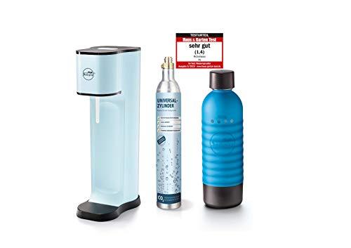 Sodapop JOY FASHION - Trinkwassersprudler inklusive PET-Flasche und CO2-Zylinder für 60L Sprudelwasser, emotion blue
