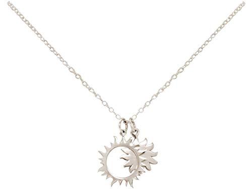 Gemshine Konstellation Halskette mit Eclipse Sonne und Mond Finsternis aus 925 Silber, hochwertig vergoldet oder rose im Cosmic Stern Stil - Made in Madrid, Spain, Metall Farbe:Silber