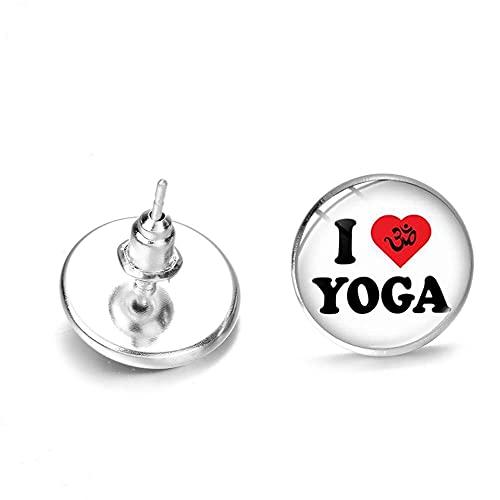 Arete Pendientes Sencillos Y Modernos Con Tema De Yoga, Mini Pendientes Con Gemas De Cristal Impresas Con Letras De I Love Creativas Para Amantes Del Yoga