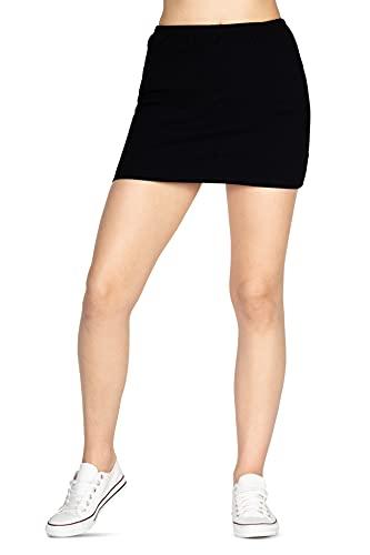 looksy Mini Falda básica Bodycon Verano Corto elástico algodón lápiz sólido Falda Uniforme Escolar para niñas, Negro M
