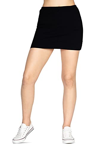 looksy Minigonna da Donna Basic Aderente Estiva Corta, in Cotone Elasticizzato, Tinta Unita, Uniforme Scolastica per Ragazze, Nero M