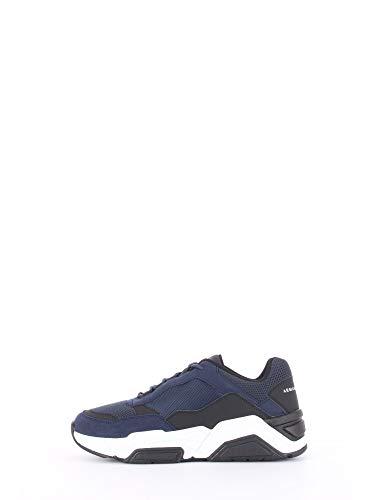 A|X Armani Exchange Herren Lace Up Sneaker Turnschuh, Schwarz und Marineblau, 43 EU