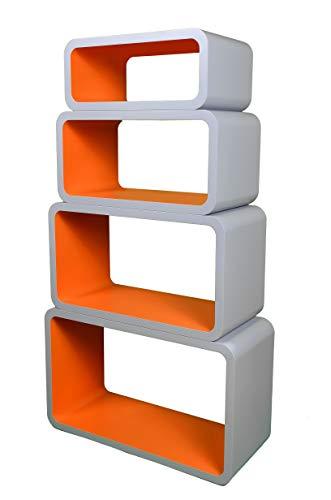 VG line Mensola da Muro Libreria Scaffale Vari Colori retrò Cubi Moderno LO01P (Grigio/Arancione)