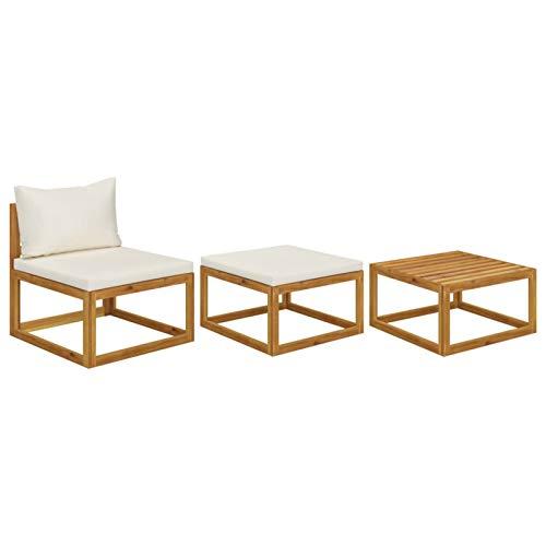 Tidyard Muebles de Jardín 3 pzas Cojines Sofás para Patio Exterior Sofá y Mesa de Centro Crema Madera Maciza de Acacia
