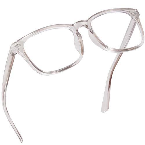 Blaulichtfilter Brille Damen und Herren, Computer/Gaming Blaufilter Brille, Blaulicht Brille mit Klassische Rechteckigem Mode-Design, Verringerung der Augenbelastung, Transparentes Hellbraun