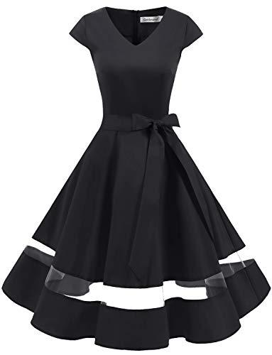 Gardenwed 1950er Vintage Retro Rockabilly Kleider Petticoat Faltenrock Cocktail Festliche Kleider Cap Sleeves Abendkleid Hochzeitkleid Black M