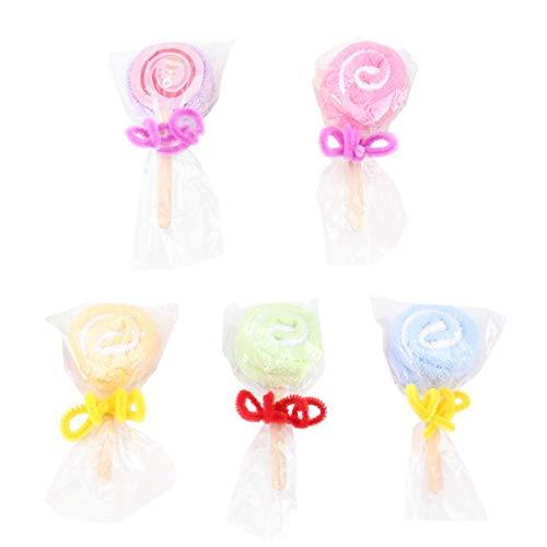PRETYZOOM - 5 piezas de decoración para tartas, diseño de piruletas, de algodón con arco para cupcakes