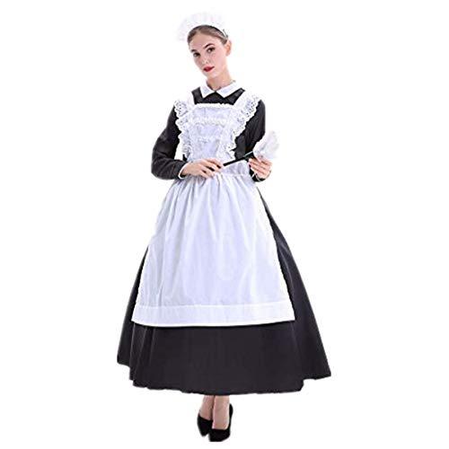 Halloween Farm Maid Maid Maid Ropa de Chef Farm Manor Escenario de Vestuario Disfraz Disfraz de Chef Disfraz Delantal Sombrerería Falda Larga