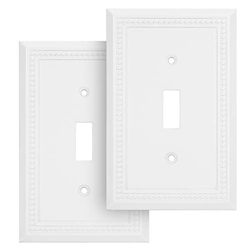 Harmon Designs Sunken Pearls Switch Plate/Wall Plate/Outlet Cover (Single Toggle 2PK, White)