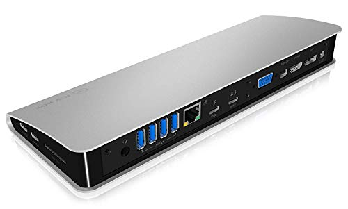 ICY BOX Thunderbolt 3 Dockingstation mit HDMI, DisplayPort, Mini DP, USB Hub, Power Delivery, Kartenleser, Netzteil