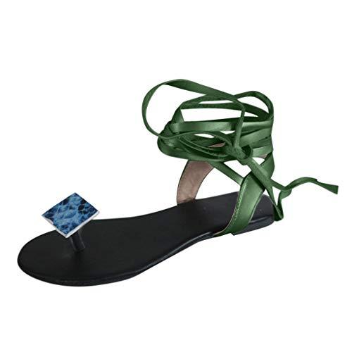 VonVonCo Shoes for Women Flats Comfortable Flip-Flops Clip Toe Vintage Lace-Up Sandals Open Toe Beach Shoes Green 12