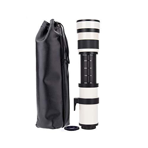 JINTU 420–800 mm F/8.3 Teleobjektiv, manueller Fokus, Zoom-Kameraobjektiv für Canon Rebel T5 T5i T6 T6i 70D 80D 5D SLR-Kamera + Tragetasche Weiß in Wildlife Fotos + T-Mount Adapter
