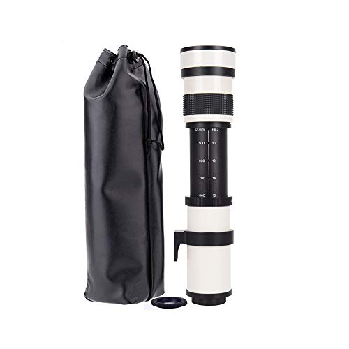 JINTU 420-800mm f/8.3 Manual Zoom Telephoto Lens for Nikon SLR Cameras + Carry Bag White D90 D300 D750 D800 D810 D850 D3100 D3200 D3300 D3400 D5100 D5200 D5300 D5500 D5600 D7000 D7100 D7200 D7500