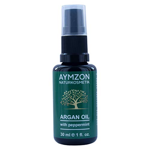 AYMZON Arganöl mit Minze 30 ml für natürliche Pflege der Haare, Haut, Gesicht und Nägel - Kaltgepresst - in Lichtschutz Glas-Flasche - Anti-Aging - Feuchtigkeitspflege