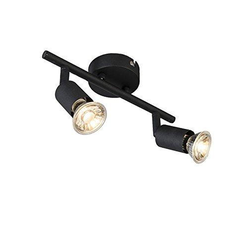 QAZQA Modern Industrieller Deckenstrahler schwarz schwenkbar - Jeany 2-flammig/Innenbeleuchtung/Wohnzimmerlampe/Schlafzimmer/Küche Metall Länglich LED geeignet GU10 Max. 2 x 35 Watt