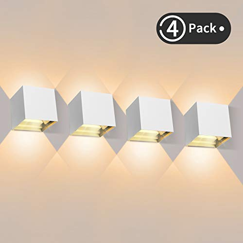 4 Pcs Apliques Pared LED 3000K 1000LM, Lámpara de Pared Interior, Apliques Pared Exterior Impermeable IP65, Aplique de Pared Moderna de Angulo de Haz Ajustable