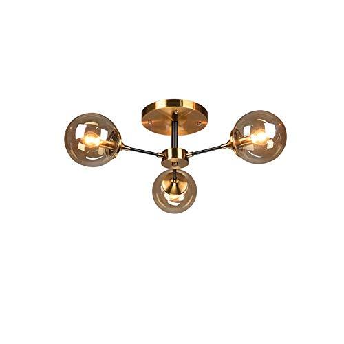 HLY Candelabro simple, lámpara colgante, luz, candelabro, luz de techo, latón, vintage, accesorio, 8 s, moderno, simple, Sputnik, vidrio, globo, colgante, ing, para, cocina, comedor, ámbar, 3 luces,Á