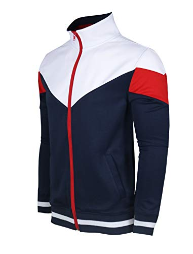 SCREENSHOTBRAND-F11956 Mens Urban Hip Hop Premium Track Jacket - Athletic Color Block Fashion Sweatshirt-Navy-Medium