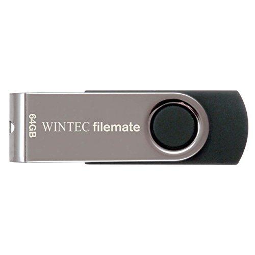 Wintec FileMate Swivel 64GB USB 2.0 Flash Drive, Black/Silver (3FMUSB64GWB-R)