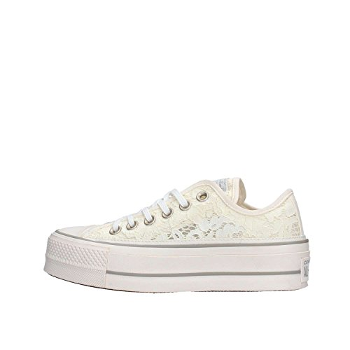 Converse Sneakers Ctas Clean Lift Ox Bianco Panna Pizzo 561288C - 36, Bianco