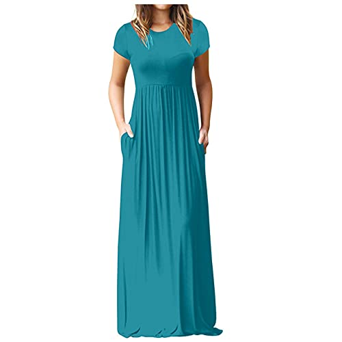 ASDVB Damenmode Oansatz Einfarbig Einfachheit Kurzarm Hohe Taille Taschen Spaghetti Maxikleid Lange Abendkleid