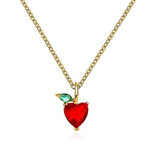 Halskette vergoldet Kristall rot Apfel Herz
